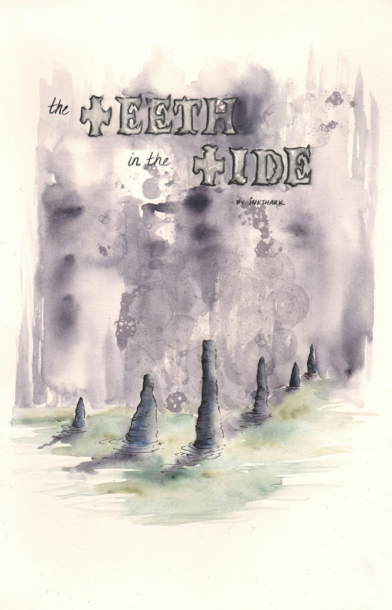title text, The Teeth in the Tide, floating over stalagmites casting shadows as they protrude up from a calm tide